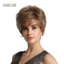 "Haircube 8"" Short Synthetic Women's Wig with Side Bangs Mixed 50% Real Human Hair Natural Looking and Long Lasting Styling(China)"