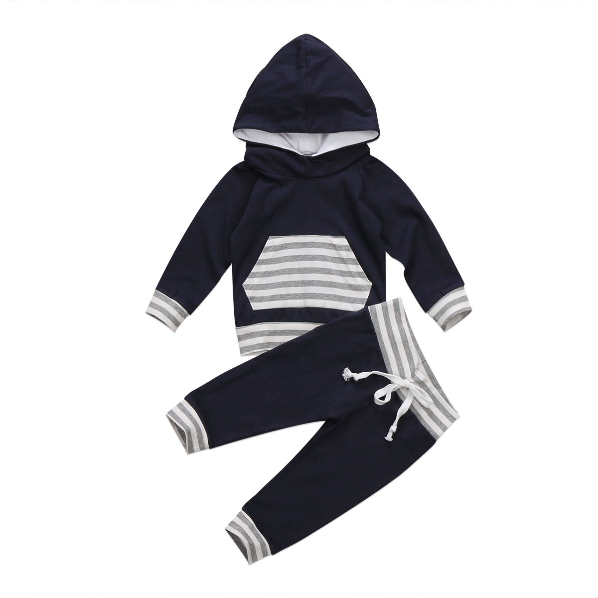Newborn Toddled Kids Baby Boys Striped Hooded Tops Harlem Pants Leggings 2Pcs Children Spring Fall Outfits Set Clothes