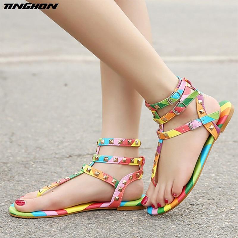 d99e5d9d5798 Size 35-45 New Gladiator Sandals Women Shoes Flats Multicolor Rivets Sandals  Buckle Sandals 2018 Elegant Casual Summer Sandals