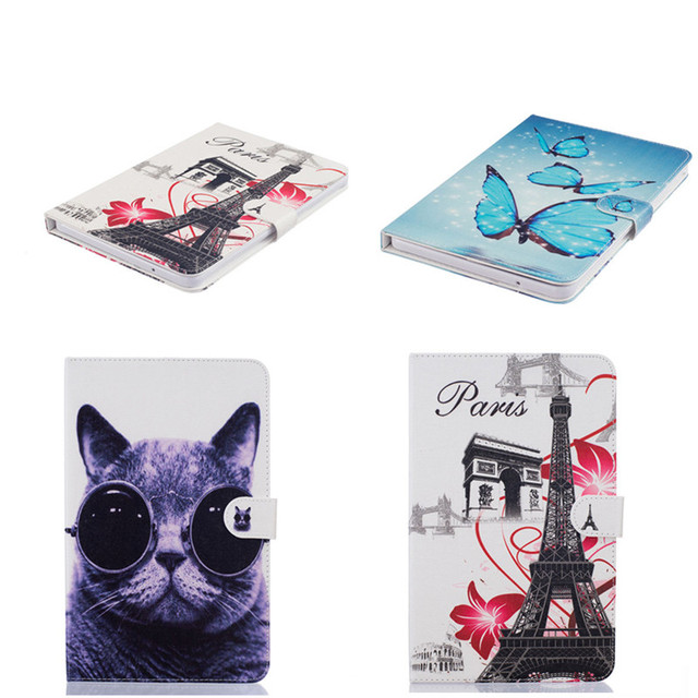 HX  Cute Butterfly OWI Tower Flip PU Leather Cover For Samsung galaxy Tab E 9.6 inch T560 T561 protecting Case Cute Flower Stand