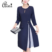 Long Sleeve Patchwork Skater Dresses Autumn Winter Spring Casual A Line Dress Fake Two Pieces Sashes