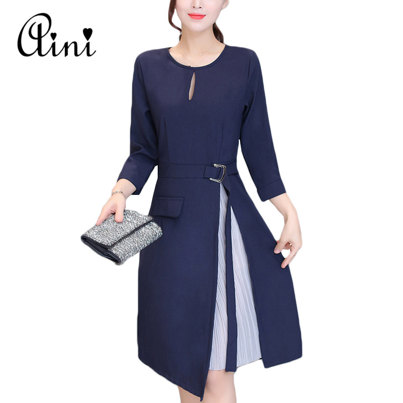 Long Sleeve Patchwork Skater Dresses Autumn Winter Spring Casual A Line Dress Fake Two Pieces Sashes Women Work Office Dress 2XL