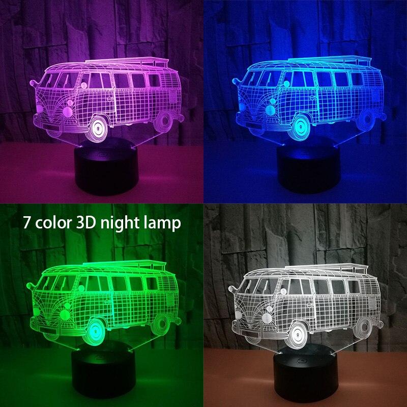 3D wizualne Illusion kemping szkoła autobus doprowadziły lampy przezroczyste akrylowe światło nocne Led Lampa 7 kolory dotykowy stół lampka do sypialni