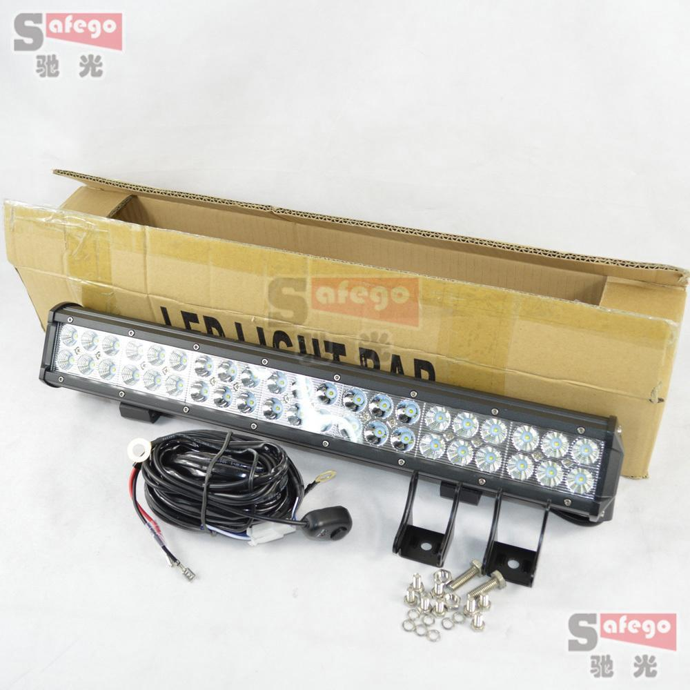 hight resolution of 1pcs 20inch 126w cree led work light bar with wire cable combo offroad lamp for tractor boat military equipment atv 126w led bar in car light assembly from