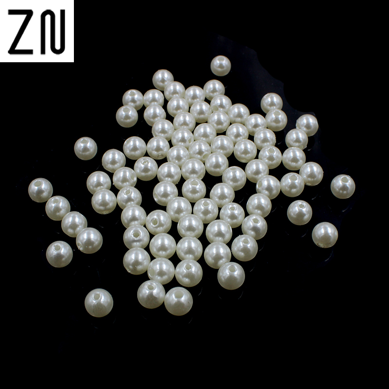 New DIY 100 pcs MIX Round Imitation Pearl 6MM ABS Plastic Loose Beads !!!!!!