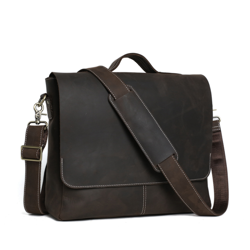 ROCKCOW 100% genuino Crazy Horse Leather Dark Brown Messenger Across Body Laptop para hombre 7108