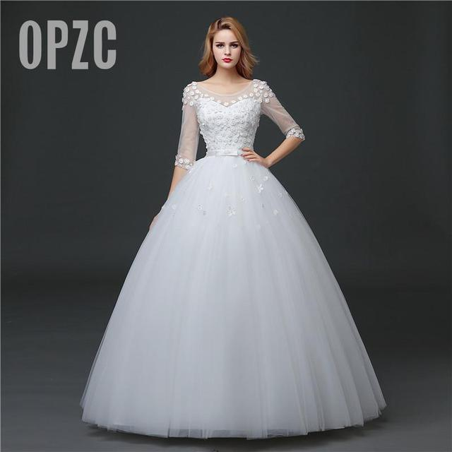 Real Photo Grils Wedding Dress 2018 New Spring Half Sleeve Lace ...