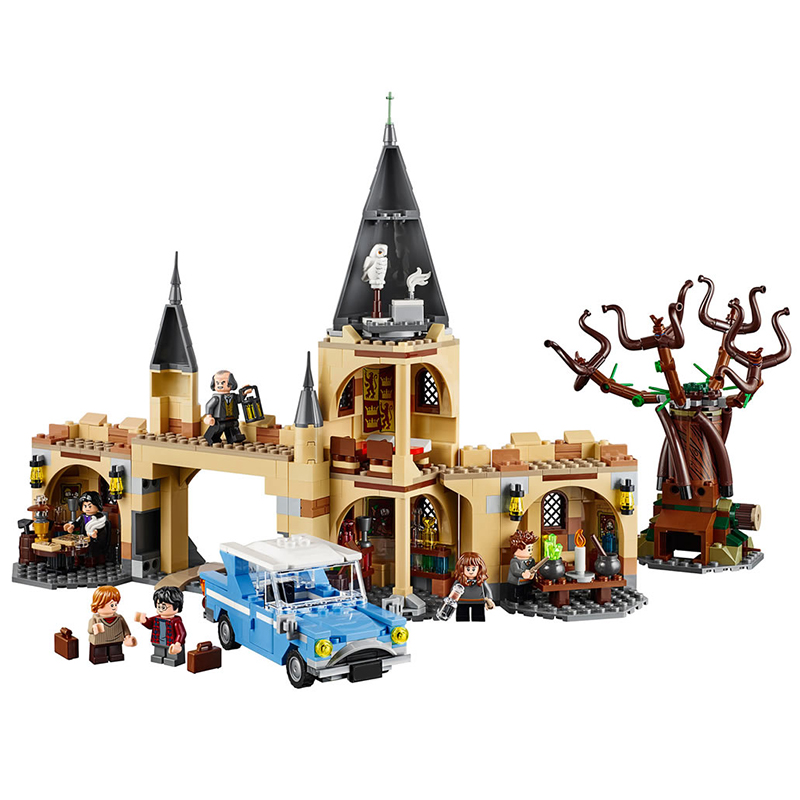 Harri Potter Series Hogwarts Whomping Willow Building Blocks 843pcs Brick Toys Compatible With Legoing Movie 75953 hot compatible legoinglys batman marvel super hero movie series building blocks robin war chariot with figures brick toys gift