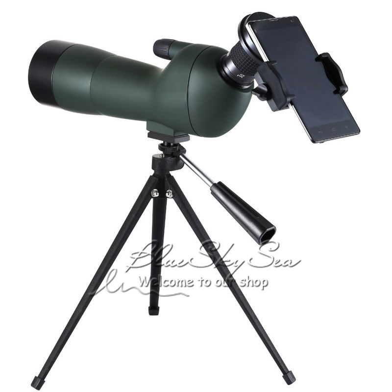 цены Free Shipping!GOMU Angled 20-60x60 Zoom Spotting Scopes Monocular for Birdwatching with Tripod+Cell Phone Adapter