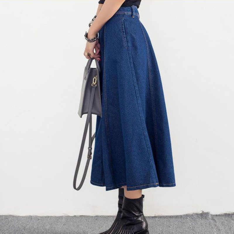 Элегантные женские Высокая талия длинные джинсовые юбка-зонтик плюс размеры уличная Империя Midi джинсовая юбка с боковыми карманами