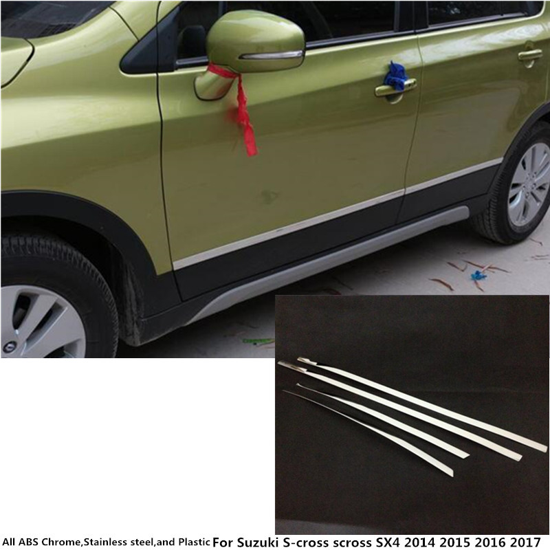 Car cover detector stainless steel Side Door Body trim sticks Strips Molding For Suzuki S-cross scross SX4 2014 2015 2016 2017