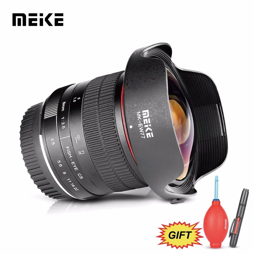 Meike 8mm f/3.5 Ultra Large Fisheye pour Tous Les Canon EOS EF Mont DSLR Caméras avec APS-C /plein Cadre + Cadeau Gratuit