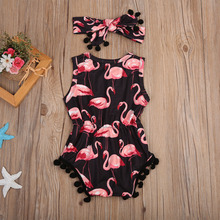 Baby Girls Sleeveless Flamingo Romper 2Pcs Clothing 0-2Y