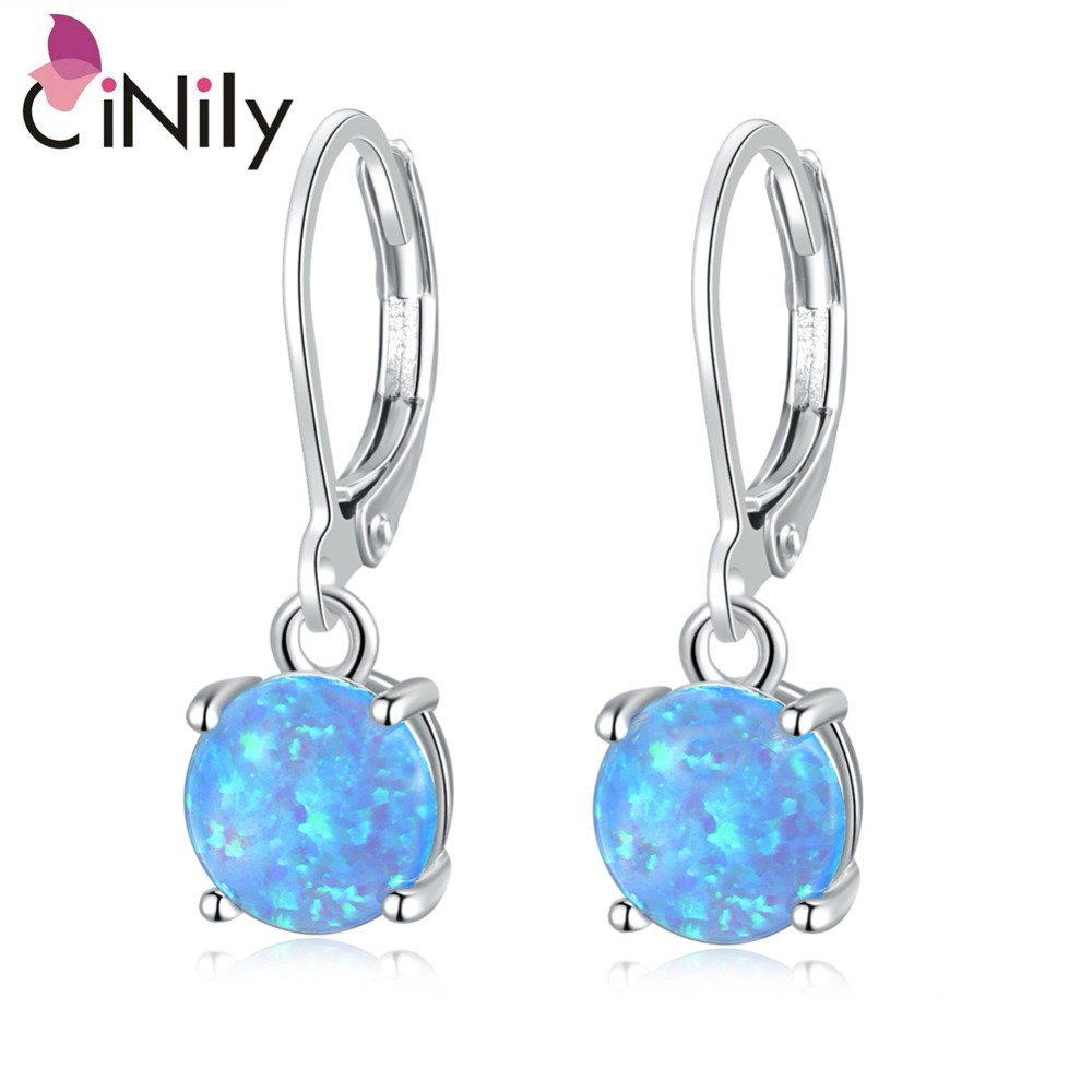 CiNily White & Pink & Blue Fire Opal Drop Dangle Earrings With Round Stone Silver Rose Gold Color Jewelry Best Gifts Girl Woman