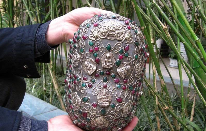 Tibet Crystal Inlay Silver Ruby Beryl Kapala Skull Cup
