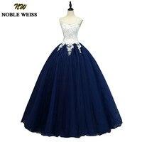 NOBLE WEISS Ball Gown Sweet 16 Dresses Gorgeous Applique Lace Quinceanera Dresses Princess Navy Blue Vestidos de 15 anos