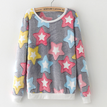 Novelty Pink Big Star Print Harajuku Christmas Hoodies Sweatshirts Women 2017 new Winter Warm Flannel Cashmere Sweatshirts M-XXL