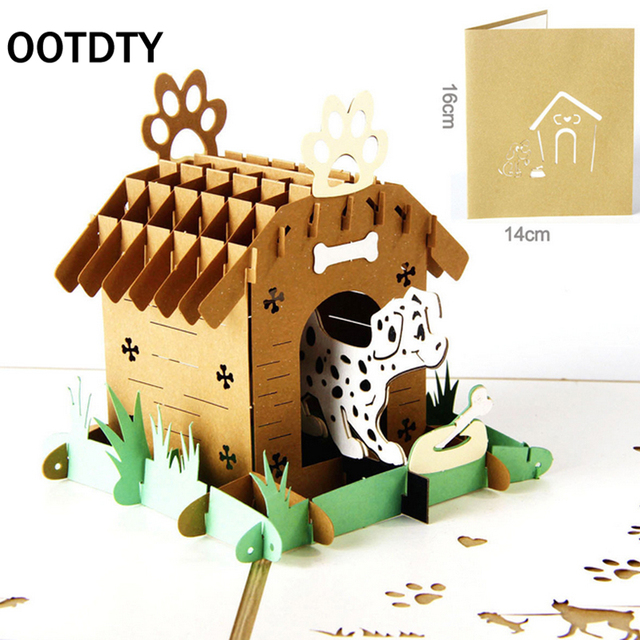 ootdty 3d laser cut pop up paper handmade custom greeting cards pop up pet house greeting - Custom Greeting Cards
