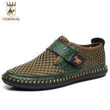 Vesonal бренд сезон: весна–лето натуральная кожа сетчатая дышащая обувь ручной работы Мужская Повседневная Высокое качество мужской обуви коричневый зеленый