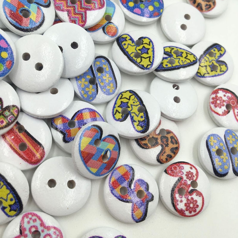 49ed9e715 100pcs Wood Buttons 15mm Sewing Craft 2 Holes WB355 - a844