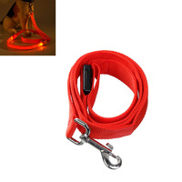 PACGOTH Adjustable Polyester Pet Dog Leash Harnesses Collar LED Lighting Up Glow 6 Color 120cm Long