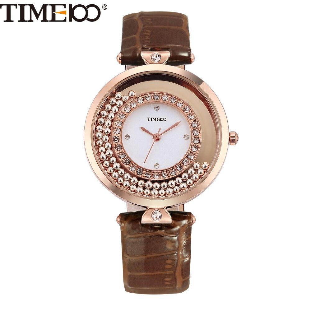 17568486cc8 TIME100 Luxo de Vintage Relógios Femininos de Quartzo Movimento de Conta  Diamantes Luminosos Grande Discar Couro