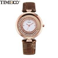 TIME100 Luxury Vintage Women S Quartz Watches Bead Move Shining Diamonds Big Dial Brown Leather Ladies