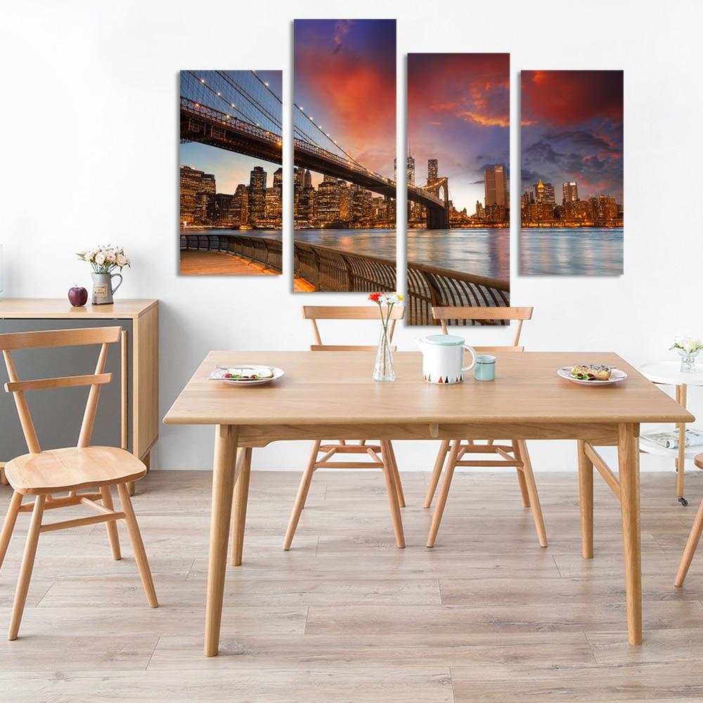 4 piezas de imágenes modulares de la ciudad de nueva york imagen - Decoración del hogar