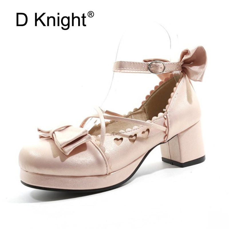 Big Size 30-48 Women Pumps Japanese Princess Lolita Shoes Sweet Bow Cross Straps High Heels Mary Janes COSPLAY Female Shoes Gold