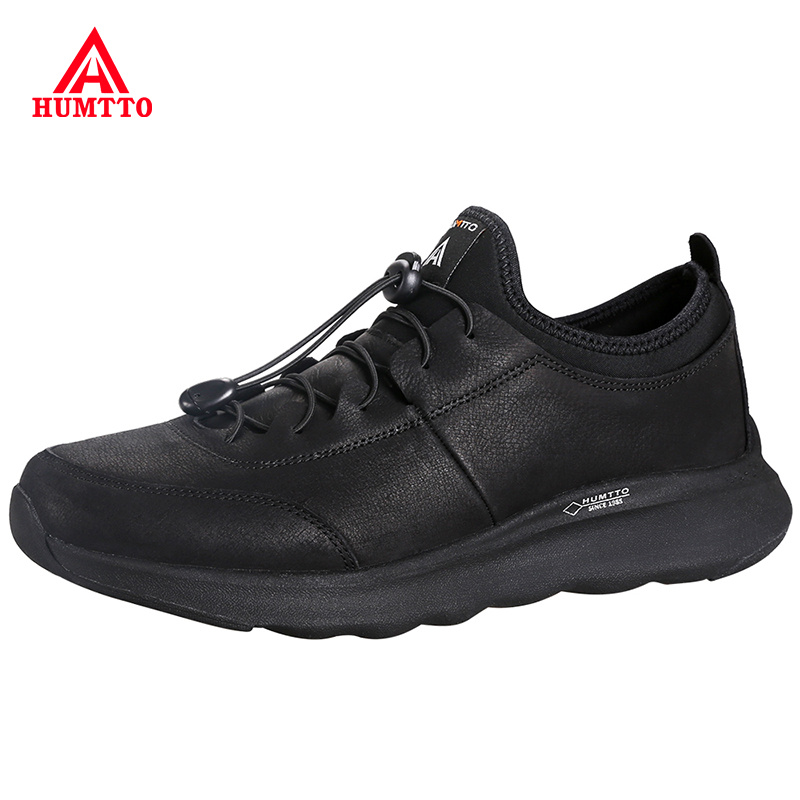 Band Male Outdoor Running Shoes Non-slip Wear Resistant Men Sport Jogging Shoes Genuine Leather Convenient Elastic Man Sneakers
