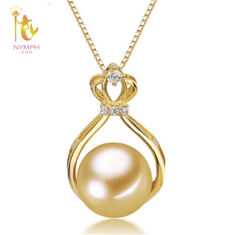 NYMPH S925 Silver Pearl Jewelry 10-10.5mm Round Natural Southsea Pearl Pendant Necklace Wedding Party For Women Girl DZ635