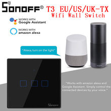 SONOFF T3UK TX Smart Wifi Wall Touch Switch Black With Border Smart Home 1/2/3 Gang 433 RF Remote Control Works With Alexa IFTTT(China)