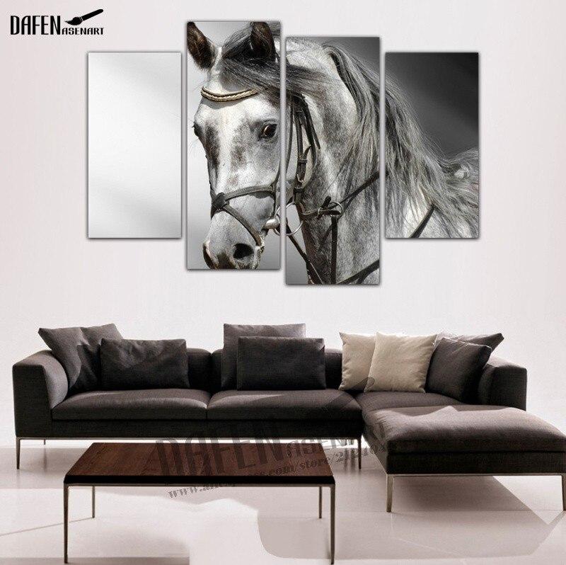 HD Leinwand 4 Panel Kunst Pferd Malerei Wandkunst Tier Malerei für ...