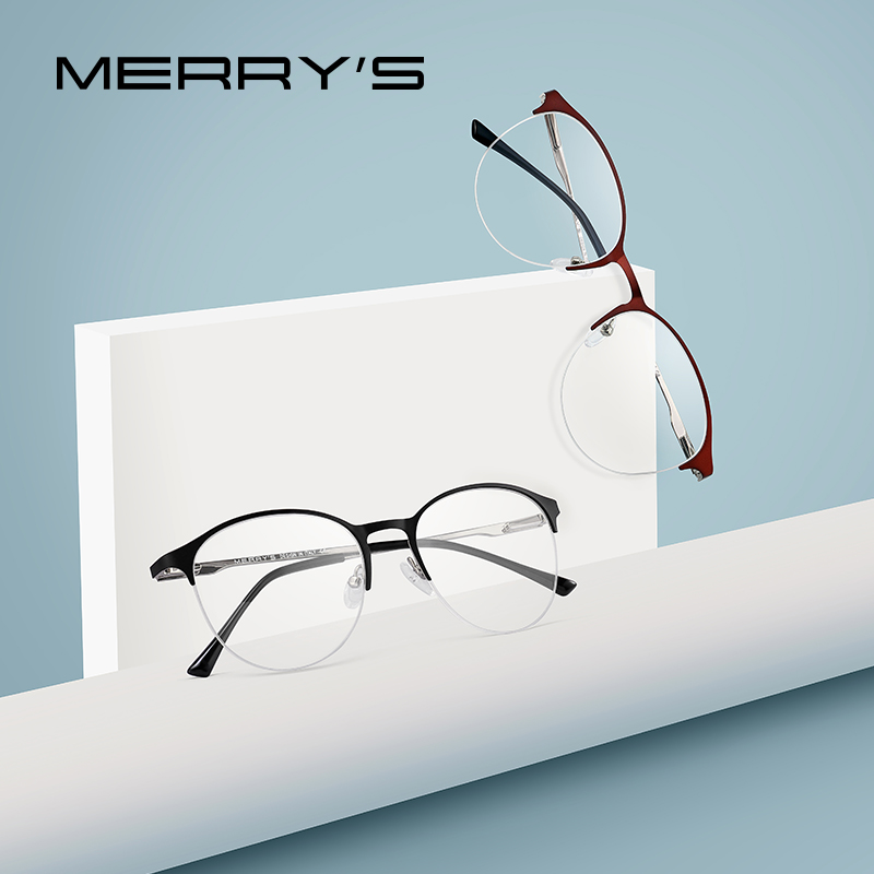MERRYS Unisex Fashion Oval Glasses Frame Men/Women Myopia Prescription Half Optical Eyeglasses S2042-in Men's Eyewear Frames from Apparel Accessories on AliExpress