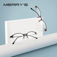 MERRYS Unisex 패션 타원형 안경 프레임 남성/여성 근시 처방 절반 광학 안경 S2042