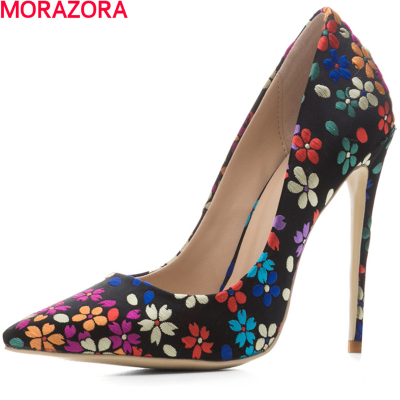 MORAZORA spring women pumps shoes mbroidered cloth Shallow mouth high heels party shoes single shoe big size 34-45