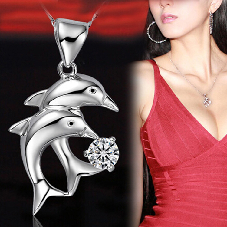 Trendy Rhinestone Inlaid Double Dolphin Image Woman Pendant Without Chain Silver Plated Charming Jewelry