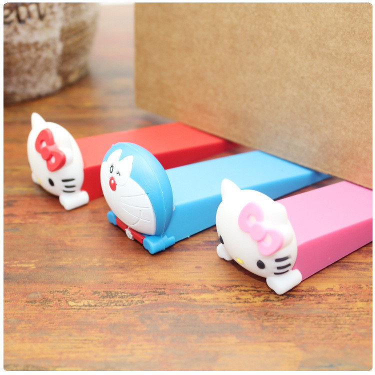 Free Shipping 9.5cm PVC Baby Satefy Door Stopper Animal Cartoon Children Kids Silicone Holder Lock Safety Finger Protection #TC