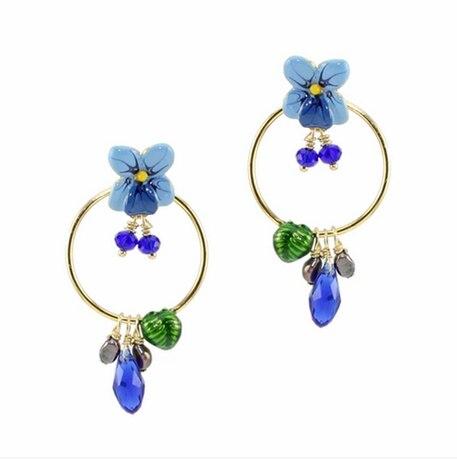 European fashion jewelry  les nereides blue flower hoop earrings party jewelry  -Free Shipping