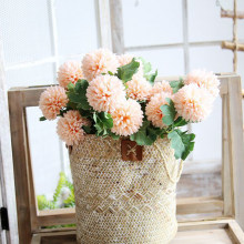Artificial Flowers 2 Heads/Branch Chrysanthemum Flower Ball Bud Fake Flower Branch Home Decor for Wedding Home Vases Decoration(China)