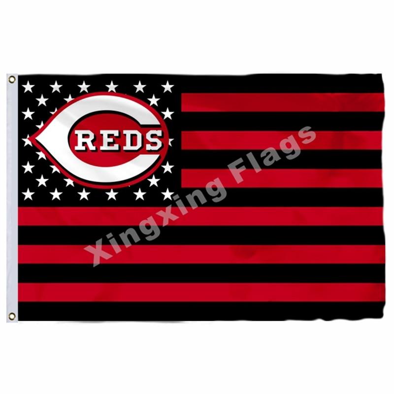 Cincinnati Reds New Nation Flag Stripe 3ft X 5ft Polyester MLB Cincinnati Reds Banner Flying Size No.4 144* 96cm Custom Flag