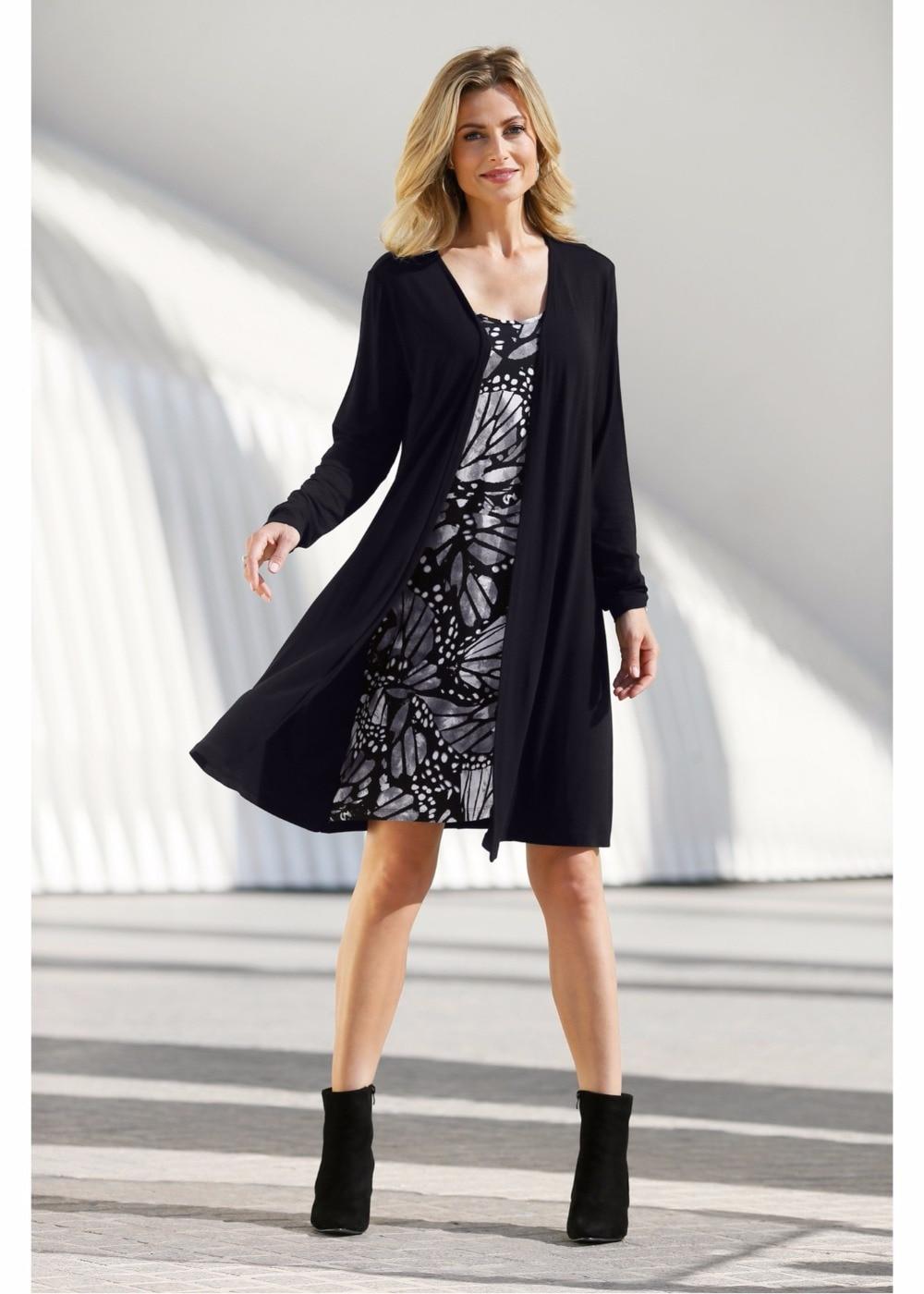 HOLMAI Female Vestidos Women Warm Winter Long Sleeve Mini Dress Vintage Casual Fake Two Pieces Thicken Short Dresses S~2XL