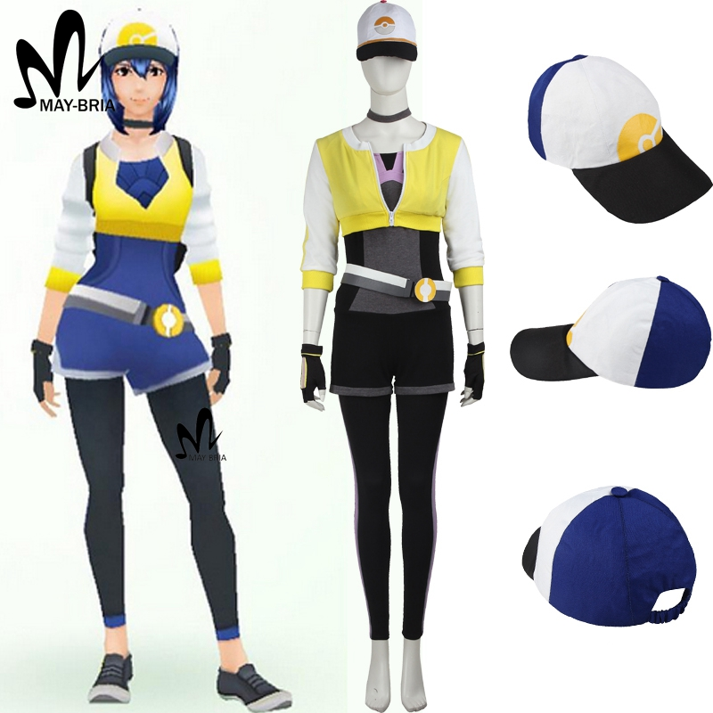 Pokemon GO Costume for adult women Halloween costumes game Pokemon go yellow team Female Trainer cosplay costume uniform hat
