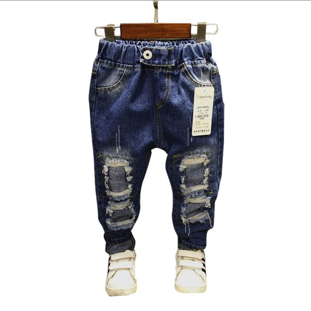 2017 Fashion Children's Denim Pants Girls Jeans Boys Denim Trousers 2-7Y Baby Ripped Jeans Spring Summer Enfant Garcon