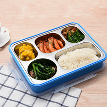 304 Stainless Steel High Quality Lunch Box Big Capacity 5 Grids With Cover Fresh Box Free