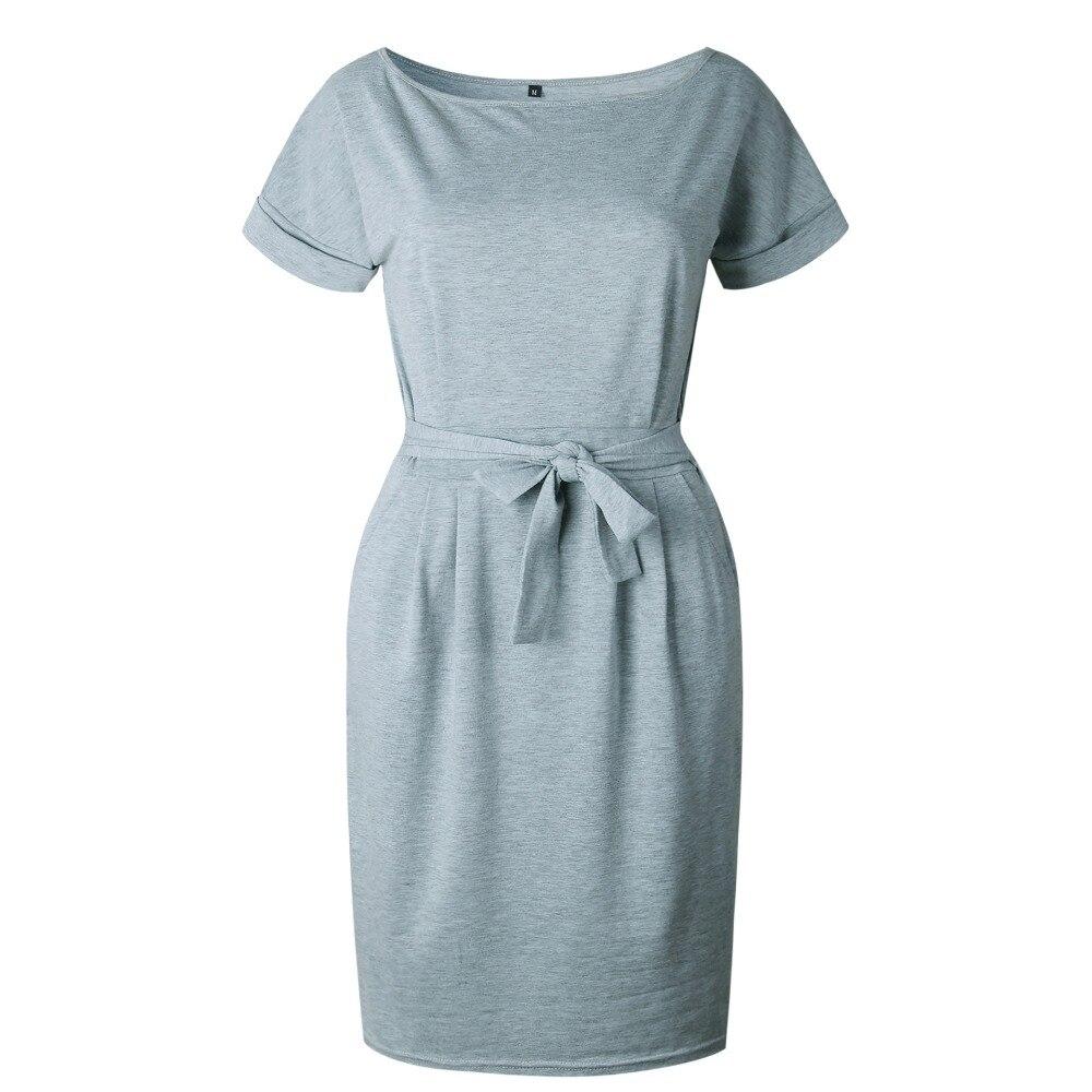 19 New Summer Fashion Women Casual Short Sleeve O-Neck Straight Black Gray Blue Dress Loose Plus Size Pocket Cotton Midi Dress 21
