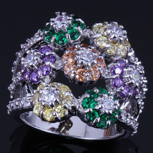 Flawless Huge Flower Multigem Multicolor Brown Cubic Zirconia 925 Sterling Silver Ring For Women V0548