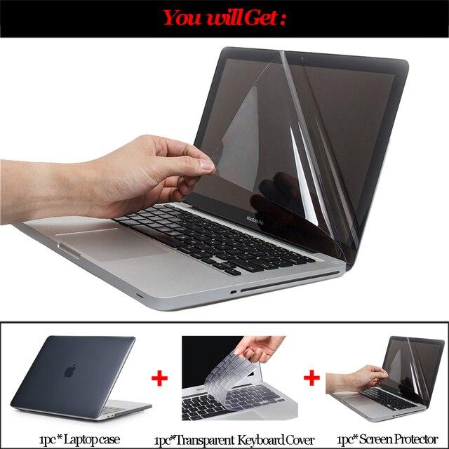 Cristal caso do portátil duro para macbook ar 13 polegada a1932 barra de toque 2019 novo pro 16 a2141 retina 12 15 polegada capa a1369 a1707 a2159 2