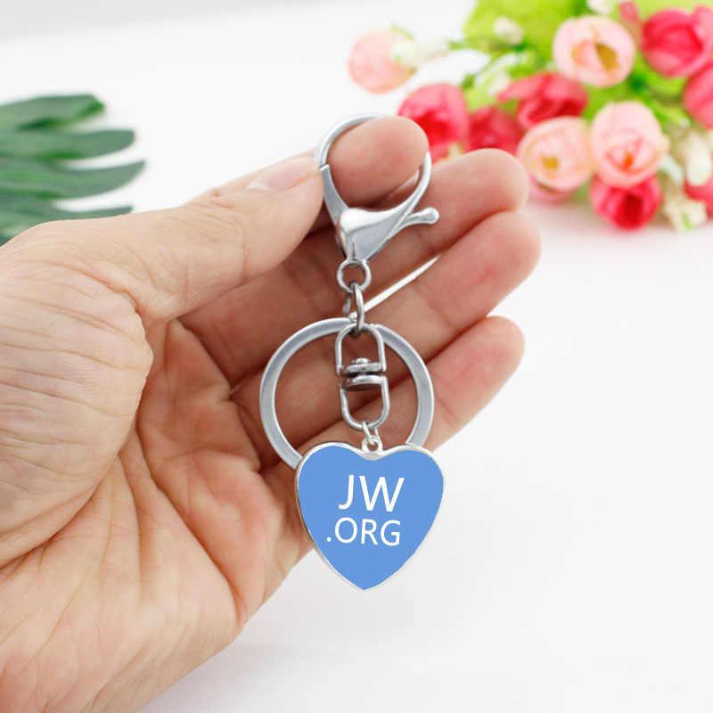 HZSHILING recién llegado JW. organ llavero en forma de corazón manualidades arte obras Color puro JW vidrio cabujón llavero regalos