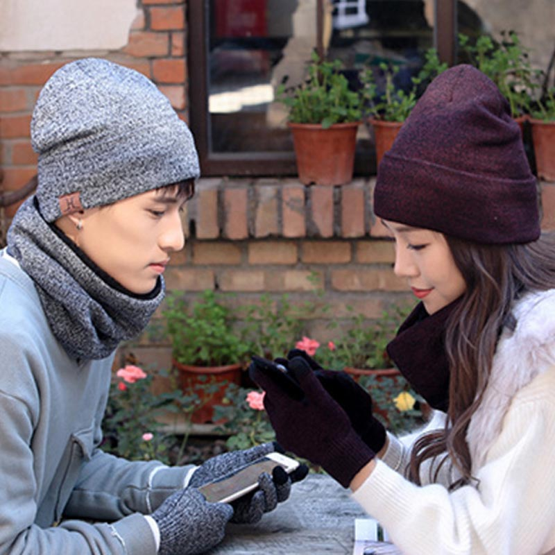 Fashion Winter Warm Thick Knitted Unisex Screen Touch Elegant Lovers Hats Scarves Gloves Set